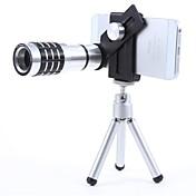 ブラック+シルバー - すべての電話clipforミニ三脚とユニバーサル金属と12Xモバイル望遠レンズ