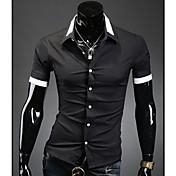 Camisa De los hombres Un Color Casual-Mezcla de Algodón-Manga Corta-Negro / Azul / Blanco