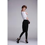 Pantalones Meili ocio de la manera de la gasa del estiramiento Haroun (negro)