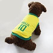 Perros Camiseta Amarillo Ropa para Perro Verano Letra y Número Deportes