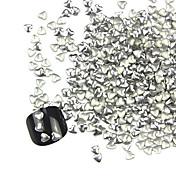 300PCS 3Dシルバーラブハート合金ネイルアートゴールデン&シルバージュエリー