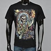 Camiseta De los hombres Estampado-Casual / Deporte-Algodón-Manga Corta-Negro
