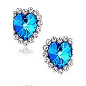Pendientes cortos Zafiro Amor joyería de disfraz Joyería de Lujo Gema Brillante Vidrio Diamante Sintético Legierung Forma de Corazón Joyas