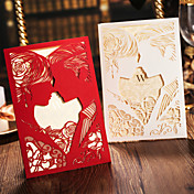 Doblado Lateral Invitaciones De Boda 50-Conjuntos de Invitaciones Estilo de Novia y Novio Papel decorado 18 x 13cm