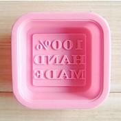 字状のケーキと石鹸型、シリコーン6×6×2センチメートル(2.4×2.4×0.8インチ)「100%ハンドメイド」