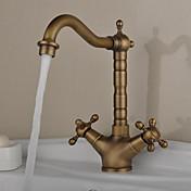 アンティーク バー/準備 デッキマウント 回転可 with  セラミックバルブ 一つ 二つのハンドルつの穴 for  アンティーク真鍮 , 水栓