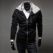 Zian® Men's Hoodie Rabbit Fur Collar Fashion Slim Fleece Casual Long Sleeve Cardigan Hoodie O