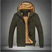 男性用 プレイン カジュアル ジャケット,長袖 コットン混,ブラック / グリーン / イエロー
