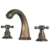 Antik Udspredt Keramik Ventil Tre Huller To Håndtag tre huller for  Antik Messing , Håndvasken vandhane