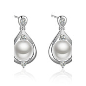 スタッドピアス クリップイヤリング 真珠 誕生石です. シンプルなスタイル 真珠 銅 銀メッキ ドロップ シルバー ジュエリー のために 結婚式 パーティー 日常 カジュアル 1ペア