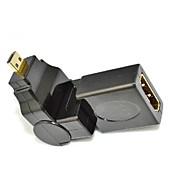 360 grados de rotación de un ángulo de 90 micro d hdmi macho a HDMI hembra adaptador convertidor