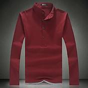 Camiseta De los hombres Un Color-Casual-Algodón / Mezcla de Algodón-Manga Larga-Negro / Azul / Rojo / Blanco