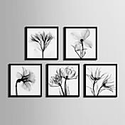 Floral/Botânico Quadros Emoldurados Conjunto Emoldurado Arte de Parede,PVC Material Preto Sem Cartolina de Passepartout com frame For