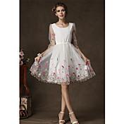 aosishan女性のラウンドネック西洋スタイルのドレスドレス