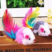 Juguete para Gato Juguetes para Mascotas Interactivo Juguetes con Plumas Ratón Textil