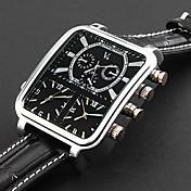 panoptes argus moda personalizados - reloj de la correa de cuero de línea cuadrada triple movimiento militar de los hombres
