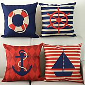 juego de 4 náutico algodón patrón / ropa cubierta decorativa almohada