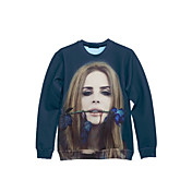PinkQueen® Women's Cotton 3D Blue Rose With Girl Print Sweatshirts