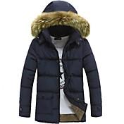 MEN - コート (ブラック / ブルー / グリーン , フェイクファー / コットン混) - カジュアル / オフィス - プレイン - 長袖