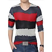 男性用 プレイン カジュアル / プラスサイズ Tシャツ,長袖 コットン / ポリエステル / メッシュ,ブルー / グリーン / レッド