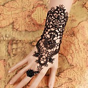 steampunk®pure novia negro guantes de vestir guantes de perlas pulsera de novia de la boda& anillo