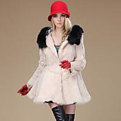 abrigo de piel de conejo de manga larga con capucha de piel&piel de mapache ocasión especial / abrigo de piel informal (más colores)