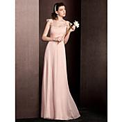 シース/コラムのネックフロアの長さのシルクの花嫁介添人ドレス