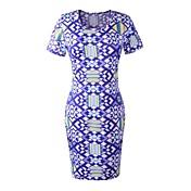 女性の幾何学模様のパッケージヒップ鉛筆のドレス