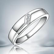 Anéis Casamento / Pesta / Diário Jóias Liga Feminino Anéis Grossos7 / 8 Prateado