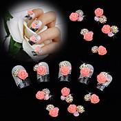 10ks perla růžové růže květ 3d drahokamu kutilství příslušenství nail art dekorace