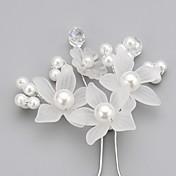 成人用 フラワーガール クリスタル 合金 人造真珠 アクリル かぶと-結婚式 パーティー ヘアピン