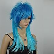 excelente azul mezclado recto peluca cosplay larga de las mujeres