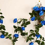 "95 ""l conjunto de 2 dulces de rosa flores de tela de seda de flores azules ratán"