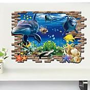 Životinje 3D Zid Naljepnice 3D zidne naljepnice Dekorativne zidne naljepnice,Vinil Materijal Odstranjivo Početna Dekoracija Zid preslikača