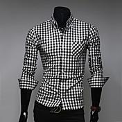 Camisas Casuales ( Algodón Compuesto )- Bodycon/Casual Cuello de camisa Manga Larga para Hombre
