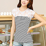 婦人向け カジュアル/普段着 夏 Tシャツ,シンプル ラウンドネック ストライプ ホワイト / ブラック コットン 半袖 ミディアム