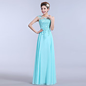 a-line strapless floor lengthシフォンフォーマルイブニングドレス、ビーズアップリケ刺繍
