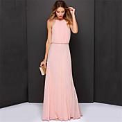 ヴィンテージ Aライン スウィング ドレス,ソリッド ホルター マキシ ノースリーブ 夏 ミッドライズ 伸縮性なし 薄手