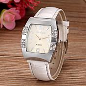 女性用 ファッションウォッチ ダミー ダイアモンド 腕時計 模造ダイヤモンド クォーツ PU バンド 光沢タイプ 白 ブルー ピンク パープル ローズ