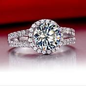 バンドリング 純銀製 ラインストーン 模造ダイヤモンド ファッション シルバー ジュエリー 結婚式 1個