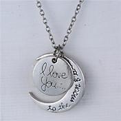 合金月と心私は月とバックネックレス(もっと色)にあなたを愛し