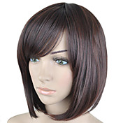 ファッション茶色の短いストレートヘアのかつら側強打合成かつらの新しい到着