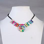 JANE piedra colorida Collar llamativo manera de la flor del oro