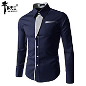 男性用 ストライプ カジュアル シャツ,長袖 コットン混 ブラック / ブルー / レッド / グレー