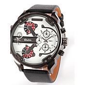 Oulm Pánské Vojenské hodinky Náramkové hodinky Hodinky s dvojitým časem Křemenný Japonské Quartz Kůže Kapela Luxusní Černá Modrá Hnědá