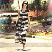 De las mujeres Corte Ancho Vestido Vintage / Casual A Rayas / Estampado Midi Escote en U Raso