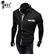 男性用 半袖 シャツ , コットン混 カジュアル