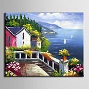 Pintada a mano PaisajeModern / Mediterráneo / Estilo europeo Un Panel Lienzos Pintura al óleo pintada a colgar For Decoración hogareña