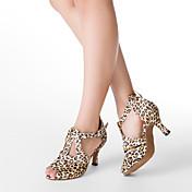 Zapatos de baile (Leopardo) - Danza latina/Salón de Baile - Personalizados - Tacón Personalizado