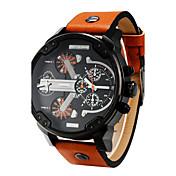 男性 軍用腕時計 クォーツ レザー バンド ブラック オレンジ